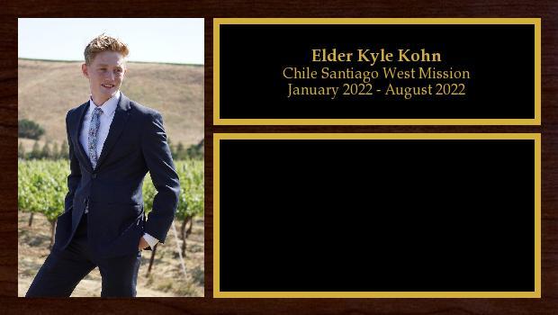 August 2020 to August 2022<br/>Elder Kyle Kohn