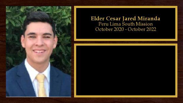 October 2020 to October 2022<br/>Elder Cesar Jared Miranda