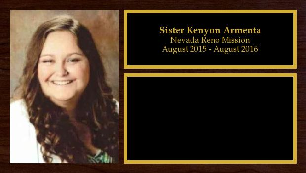 August 2015 to August 2016<br/>Sister Kenyon Armenta