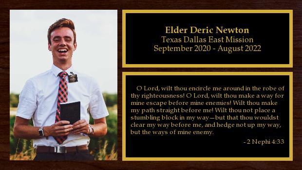 September 2020 to September 2022<br/>Elder Deric Newton