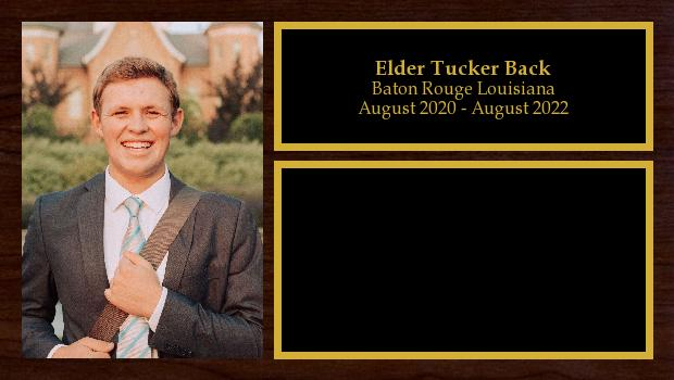 August 2020 to August 2022<br/>Elder Tucker Back