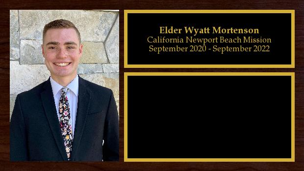 September 2020 to September 2022<br/>Elder Wyatt Mortenson