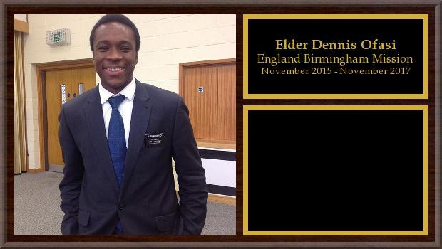 November 2015 to November 2017<br/>Elder Dennis Ofasi