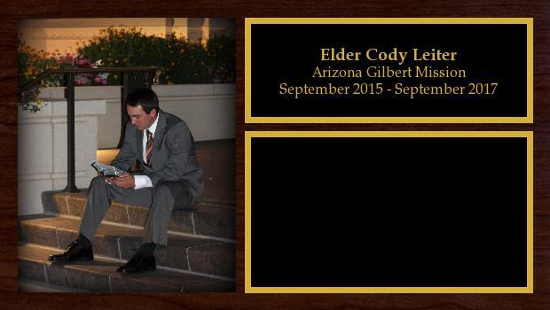 September 2015 to September 2017<br/>Elder Cody Leiter