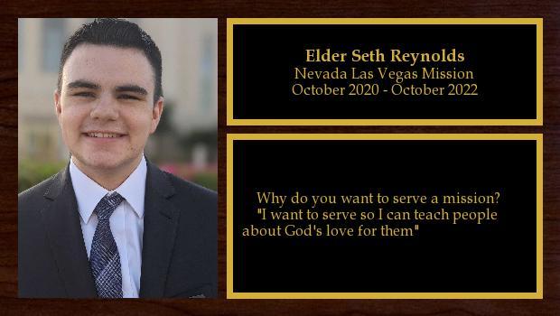 October 2020 to October 2022<br/>Elder Seth Reynolds