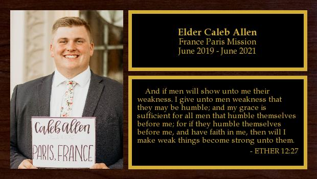 June 2019 to June 2021<br/>Elder Caleb Allen