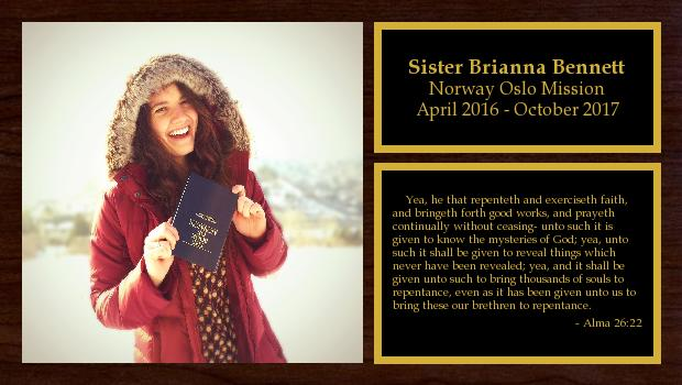 April 2016 to October 2017<br/>Sister Brianna Bennett