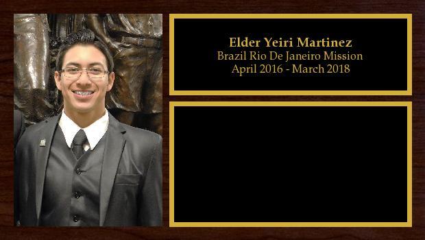 April 2016 to March 2018<br/>Elder Yeiri Martinez