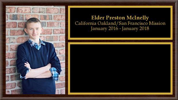 January 2016 to January 2018<br/>Elder Preston McInelly
