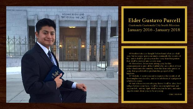 January 2016 to January 2018<br/>Elder Gustavo Purcell