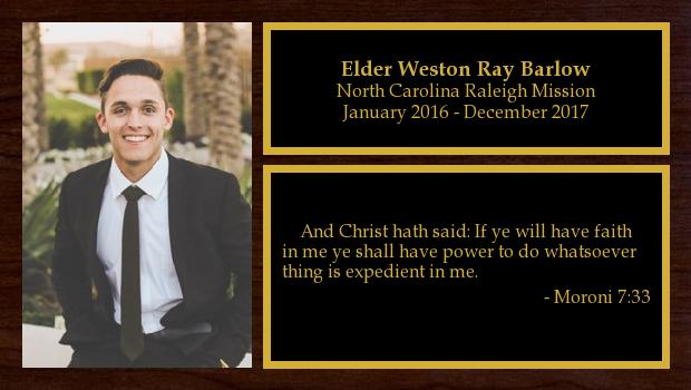 January 2016 to December 2017<br/>Elder Weston Ray Barlow