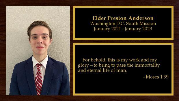 January 2021 to January 2023<br/>Elder Preston Anderson