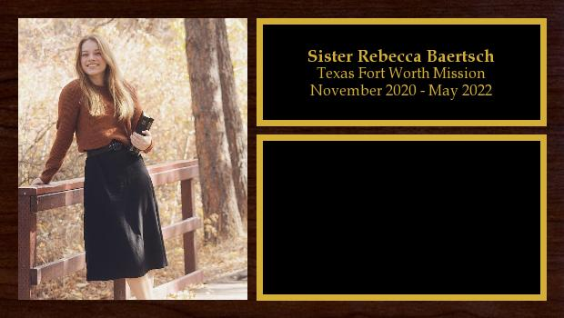 November 2020 to May 2022<br/>Sister Rebecca Baertsch