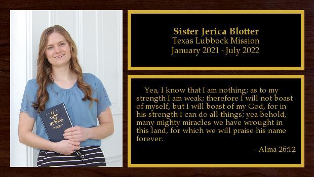 January 2021 to July 2022<br/>Sister Jerica Blotter