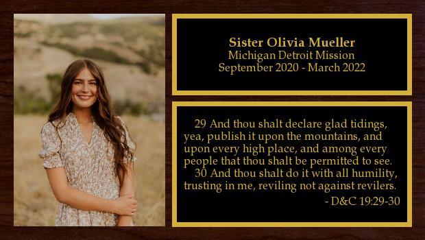 September 2020 to March 2022<br/>Sister Olivia Mueller