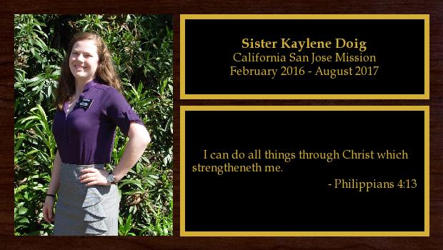 February 2016 to August 2017<br/>Sister Kaylene Doig