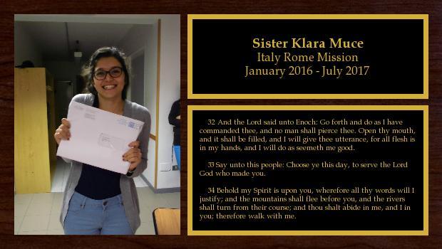January 2016 to July 2017<br/>Sister Klara Muce