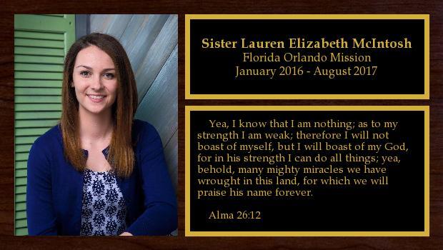 January 2016 to August 2017<br/>Sister Lauren Elizabeth McIntosh