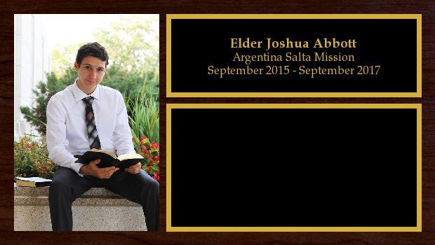 September 2015 to September 2017<br/>Elder Joshua Abbott