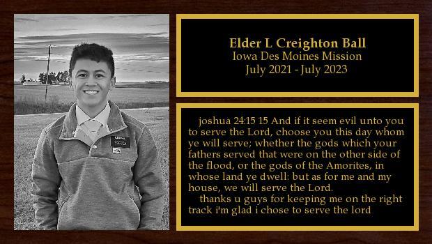 July 2021 to July 2023<br/>Elder L Creighton Ball