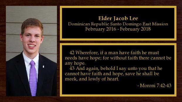 February 2016 to February 2018<br/>Elder Jacob Lee
