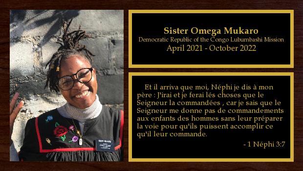 April 2021 to October 2022<br/>Sister Omega Mukaro