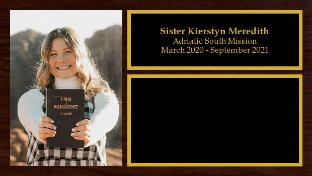 March 2020 to September 2021<br/>Sister Kierstyn Meredith