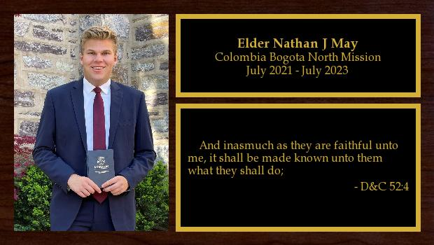 July 2021 to July 2023<br/>Elder Nathan J May