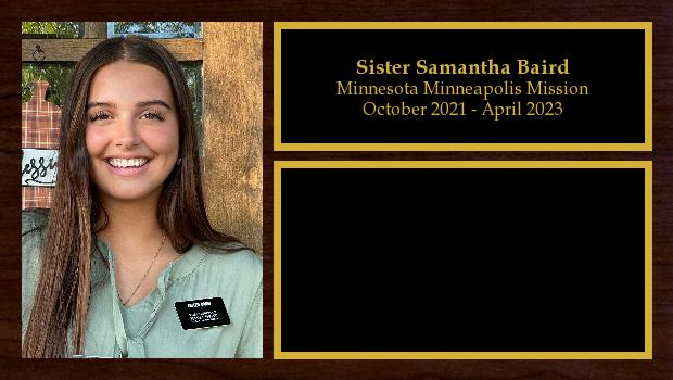 October 2021 to April 2023<br/>Sister Samantha Baird