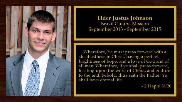 September 2013 to September 2015<br/>Elder Justus Johnson