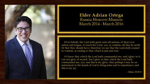 March 2014 to March 2016<br/>Elder Adrian Ortega