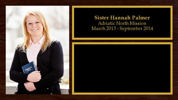 March 2013 to September 2014<br/>Sister Hannah Palmer