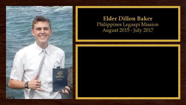 August 2015 to July 2017<br/>Elder Dillon Baker