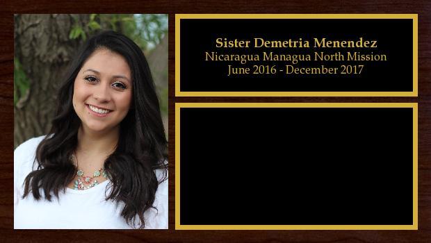 June 2016 to December 2017<br/>Sister Demetria Menendez