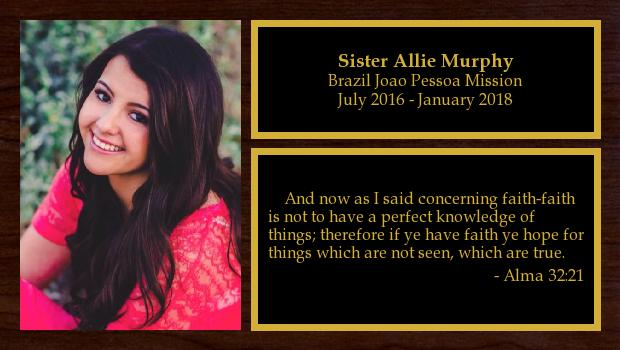 July 2016 to January 2018<br/>Sister Allie Murphy