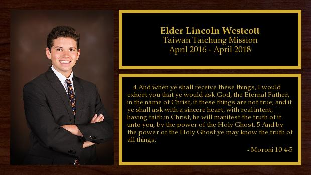 April 2016 to April 2018<br/>Elder Lincoln Westcott
