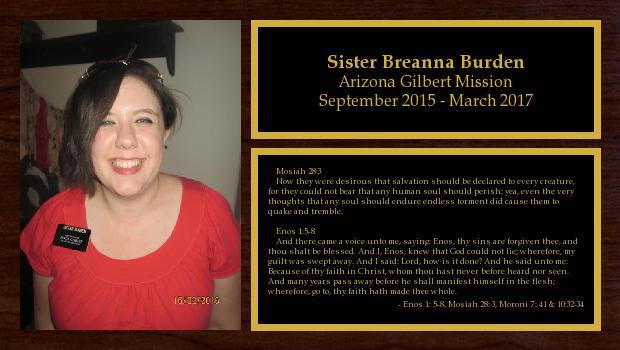 September 2015 to March 2017<br/>Sister Breanna Burden