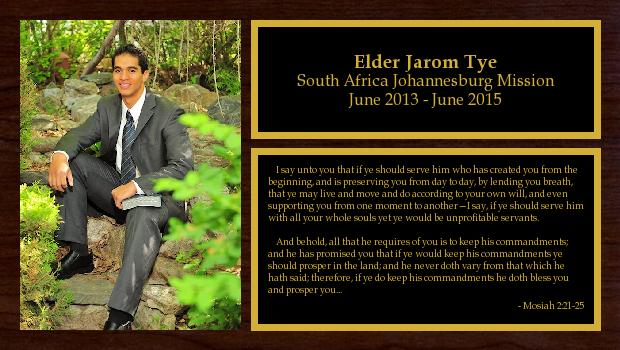 June 2013 to June 2015<br/>Elder Jarom Tye