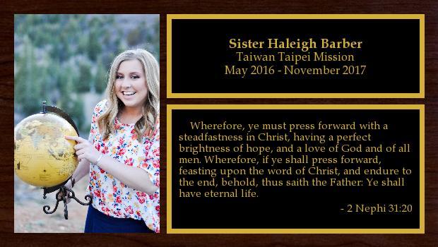 May 2016 to November 2017<br/>Sister Haleigh Barber