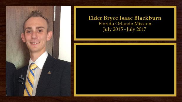 July 2015 to July 2017<br/>Elder Bryce Isaac Blackburn
