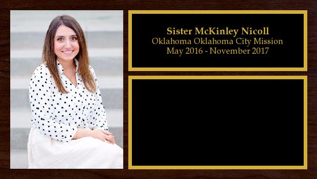 May 2016 to November 2017<br/>Sister McKinley Nicoll