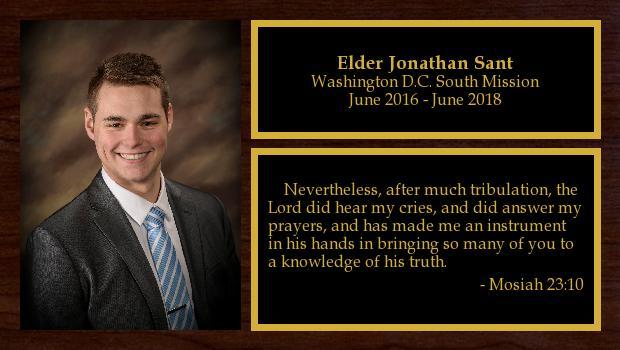 June 2016 to June 2018<br/>Elder Jonathan Sant