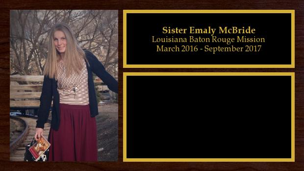 March 2016 to September 2017<br/>Sister Emaly McBride