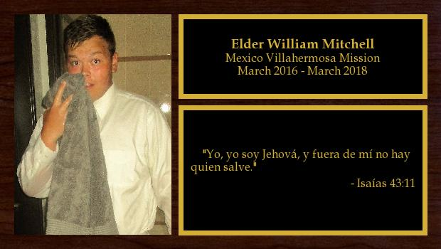 March 2016 to March 2018<br/>Elder William Mitchell