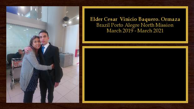 March 2019 to March 2021<br/>Elder Cesar  Vinicio Baquero. Ormaza
