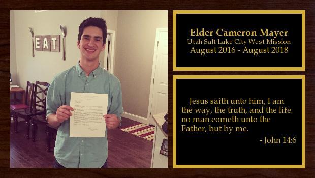 August 2016 to August 2018<br/>Elder Cameron Mayer