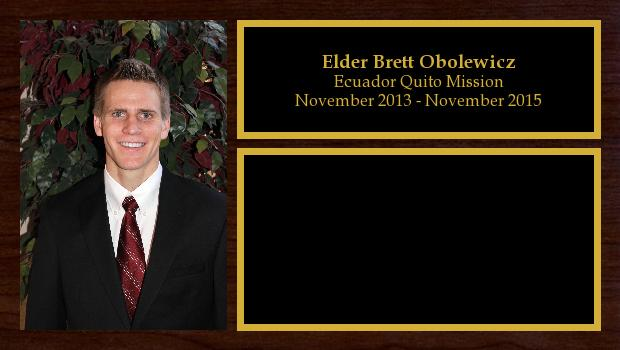 November 2013 to November 2015<br/>Elder Brett Obolewicz