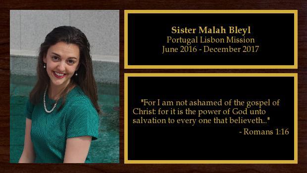 June 2016 to December 2017<br/>Sister Malah Bleyl