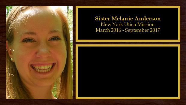 March 2016 to September 2017<br/>Sister Melanie Anderson