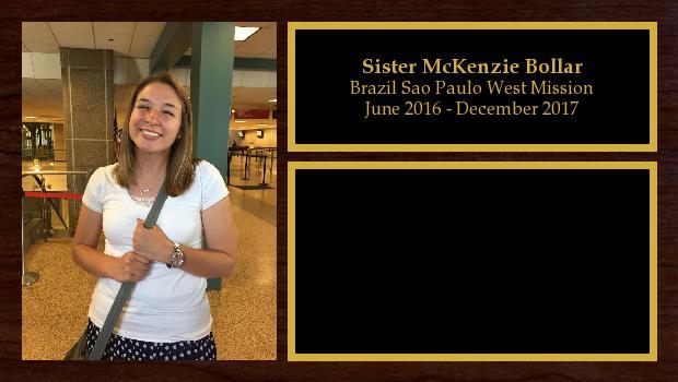 June 2016 to November 2017<br/>Sister McKenzie Bollar